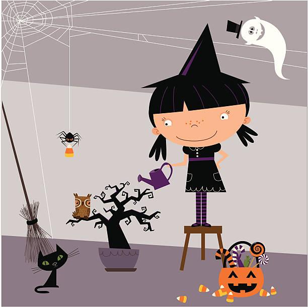 ilustrações de stock, clip art, desenhos animados e ícones de little bruxas assustador e a árvore - lata comida gato