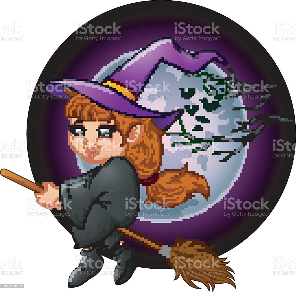 Little witch cartoon flying royalty-free little witch cartoon flying stock vector art & more images of babies only