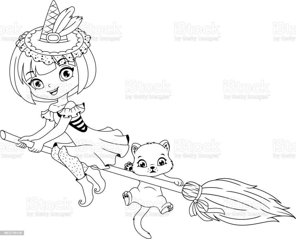 Kucuk Cadi Boyama Sayfasi Stok Vektor Sanati Animasyon Karakter