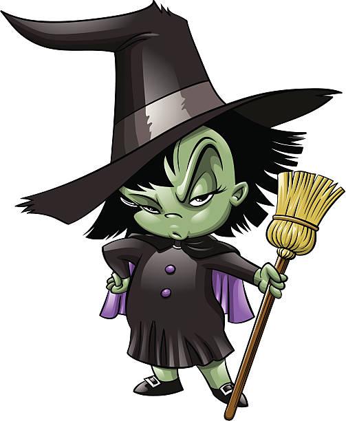 Little Witch vector art illustration