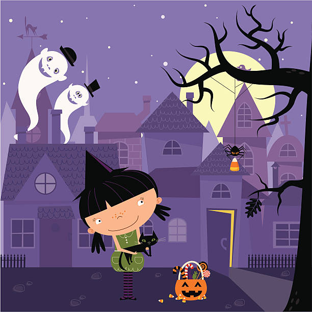 Little witch Little girl trick-or-treating in Halloween night. spooky halloween town stock illustrations