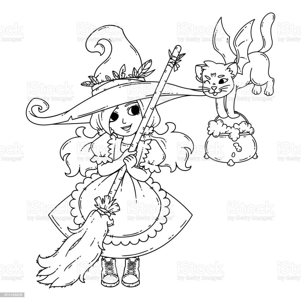 Eine Kleine Hexe Mit Besen Eine Katze Und Ein Topf Stock Vektor Art