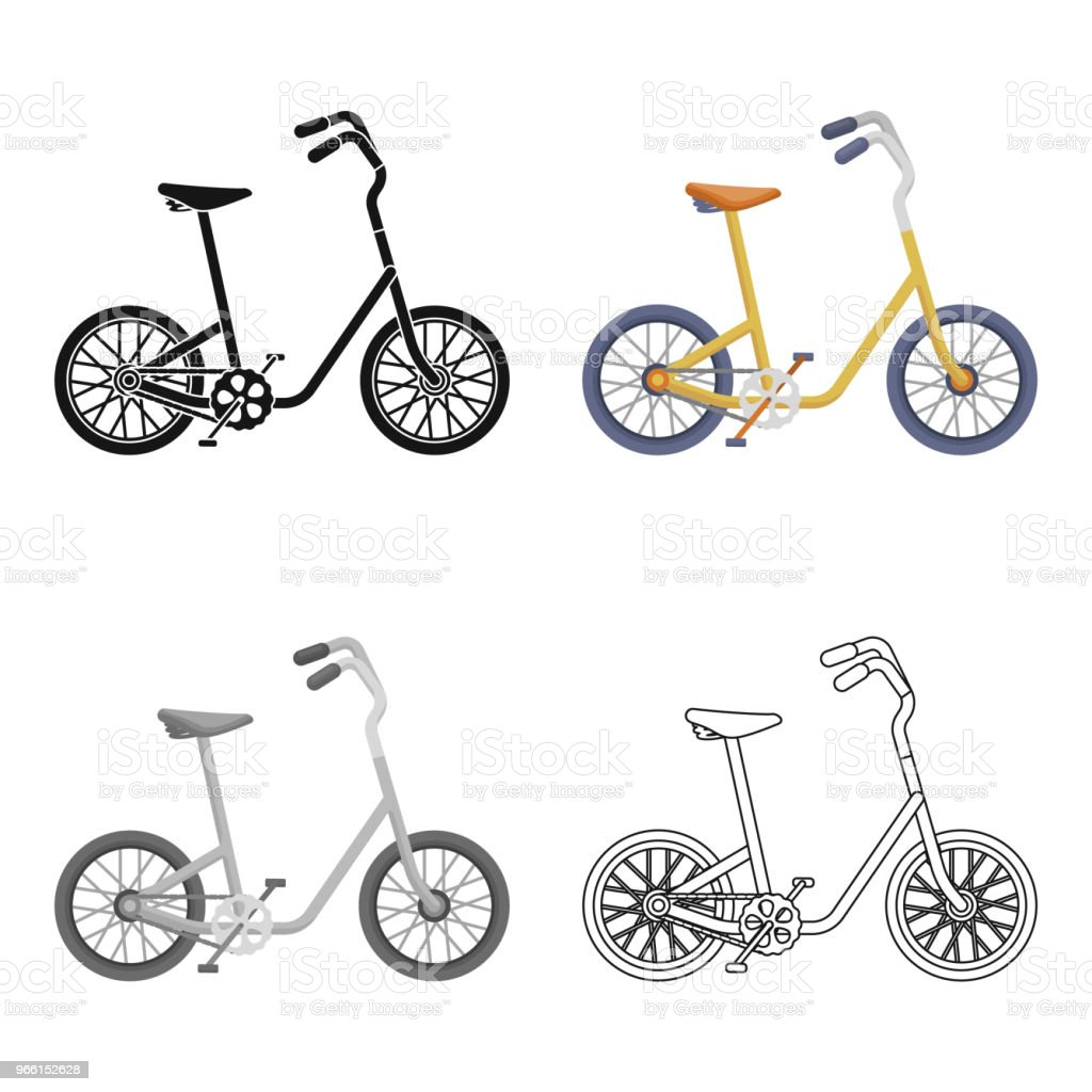 Little yellow children bicycle. Bicycles for children and a healthy lifestyle.Different Bicycle single icon in cartoon style vector symbol stock web illustration. - Royalty-free Activity stock vector