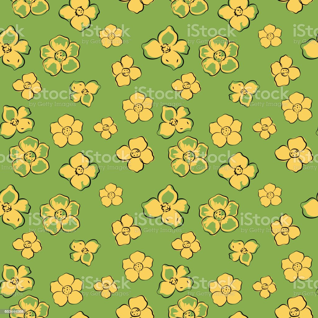 Little Yellow Flowers On Green Background Seamless Pattern Stock