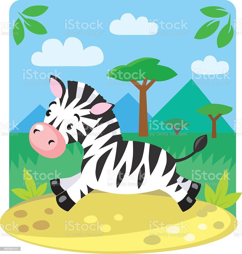 Little Zebra vector art illustration