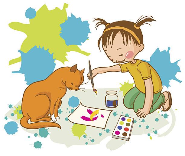 little_girl_painting_red_cat_school_activities - kunstunterricht stock-grafiken, -clipart, -cartoons und -symbole