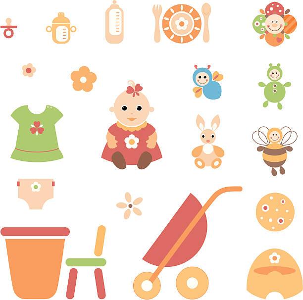 little_girl_set - wickeltisch stock-grafiken, -clipart, -cartoons und -symbole