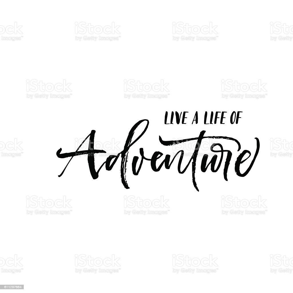 Live a life of adventure postcard. - ilustração de arte em vetor