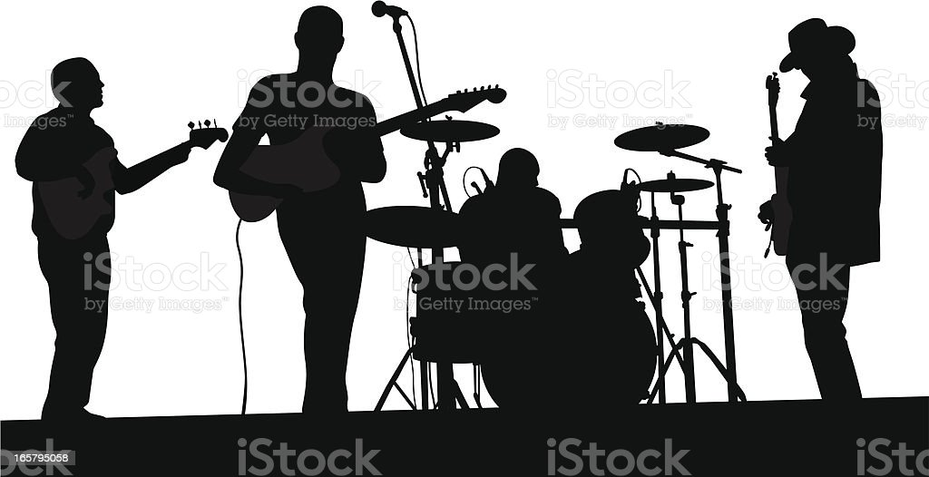 Live Band Vector Silhouette Stock Illustration