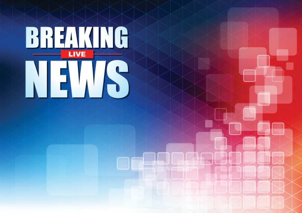 stockillustraties, clipart, cartoons en iconen met live breaking news kop in pixels met normale blauwe en rode achtergrondkleur - journaal presentator