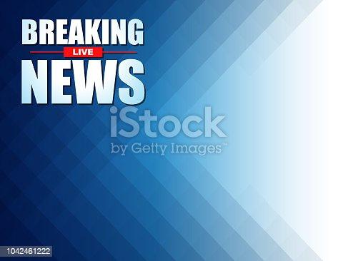 Illustration vector of Live Breaking News headline in blue color background. EPS Ai file format.