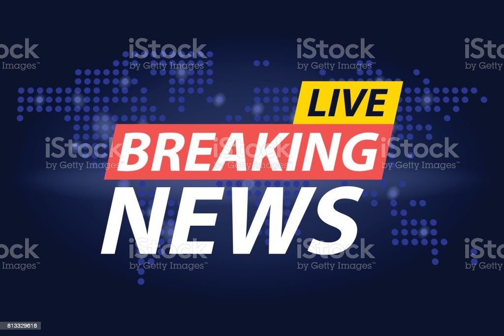 Live Breaking News headline in blue dotted world map background. Vector illustration vector art illustration