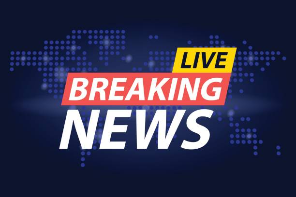 Live Breaking News Headline In Blue Dotted World Map Background Vector Illustration Art
