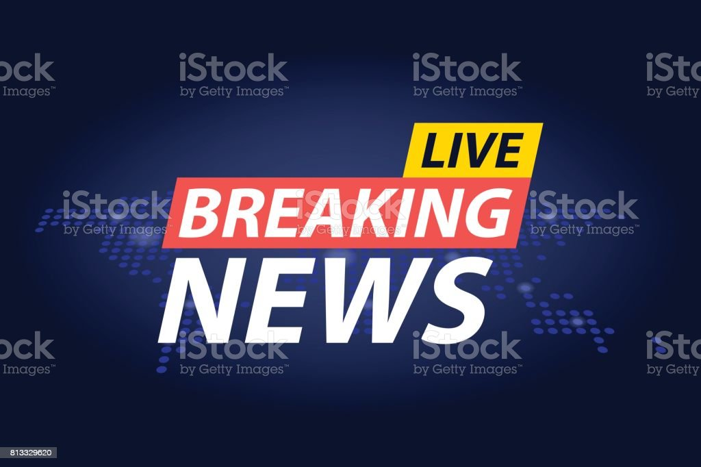 Live Breaking News Headline In Blue Dotted World Map Background Vector Illustration Royalty Free