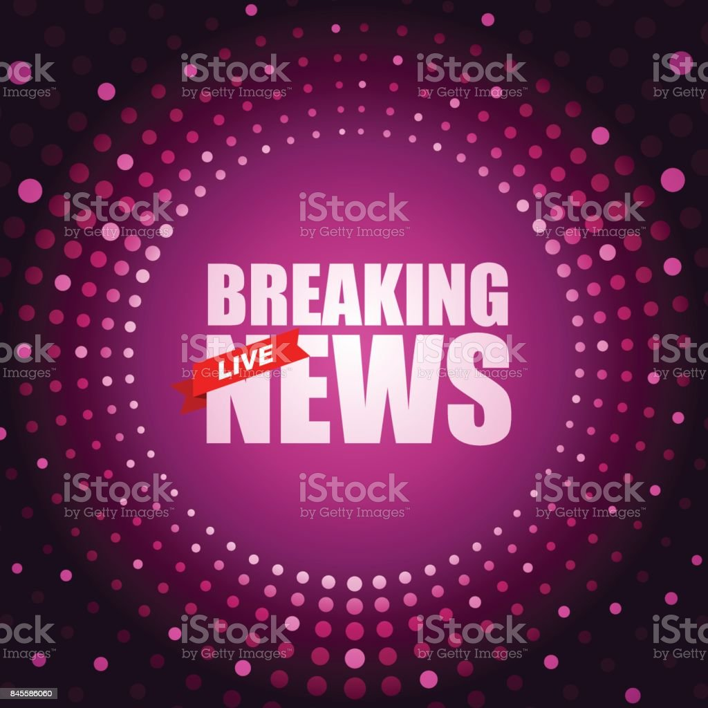 Live Breaking News headline in purple dotted color background vector art illustration