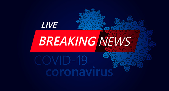 Live Breaking News headline in red and blue color with virus COVID-19 background