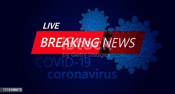 Illustration vector of Live Breaking News headline in red and blue color with virus COVID-19 background. EPS Ai file format.