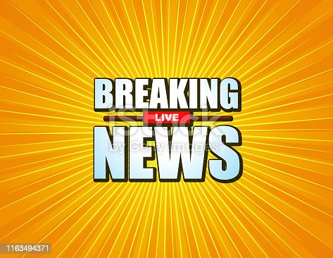 Illustration vector of Live Breaking News headline in  starburst color background. EPS Ai file format.