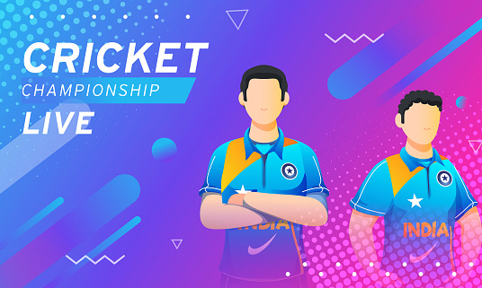 Live Cricket Championship Banner Design with Cartoon Indian Players on Abstract Gradient Background.