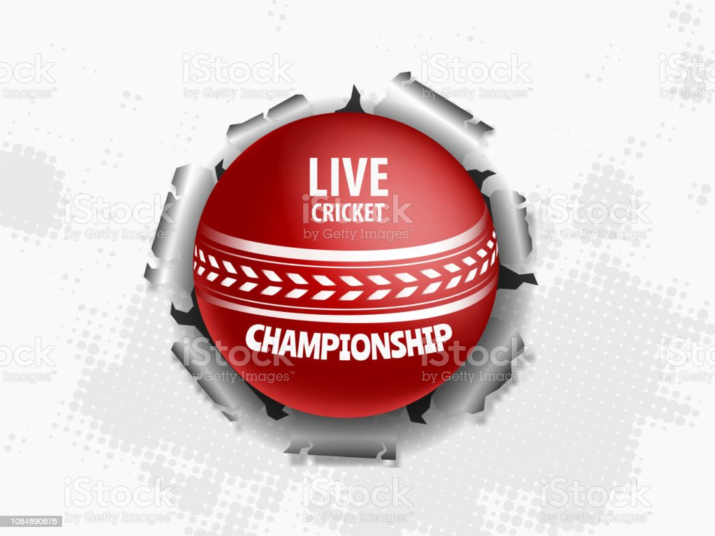 Live Cricket Poster Or Banner Design Close View Of Cricket Ball On