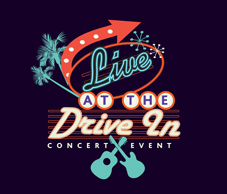 Live Drive in concert event poster design advertisement