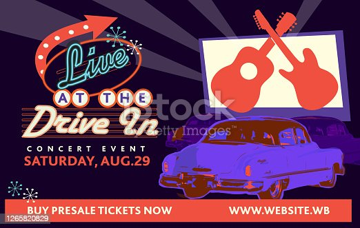 istock Live Drive in concert event web banner design advertisement 1265820829