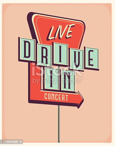 Vector illustration of a Live Drive In Concert sign. Retro color scheme with texture around edge. Includes text design. Royalty free vector eps 10. Fully editable.