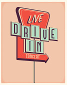 istock Live Drive In Concert sign poster design 1268569878