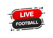 Live Football isolated red flat banner on white background. Vector illustration
