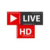 Live HD icon. Vector Illustration