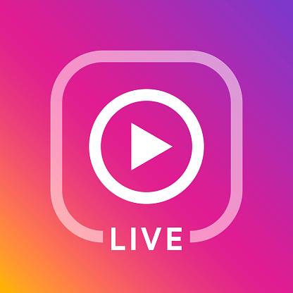 Live icon for social media. Streaming sign. Broadcasting logo. Play button. Online blog banner. Vector illustration design
