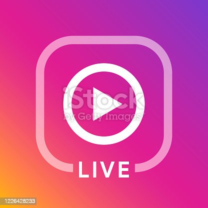 Live icon for social media. Streaming sign. Broadcasting logo. Play button. Online blog banner.