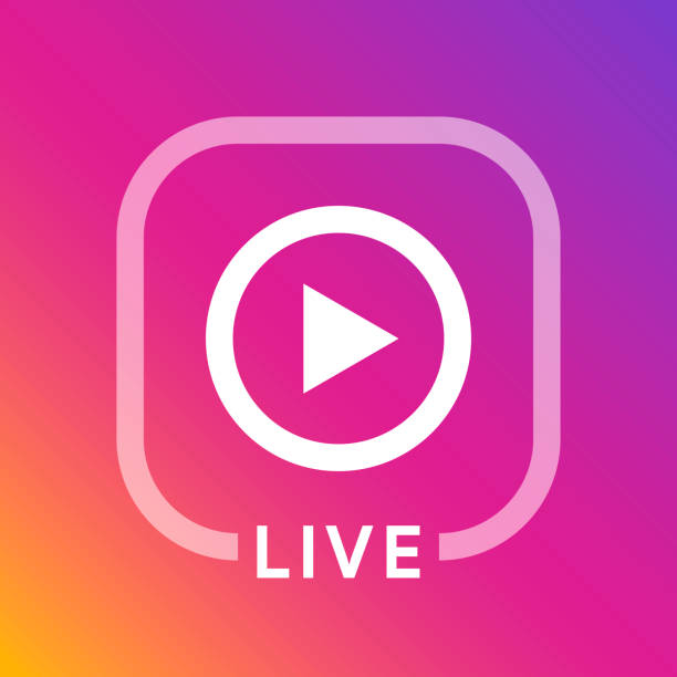 Live icon for social media. Streaming sign. Broadcasting logo. Play button. Online blog banner. Vector illustration design Live icon for social media. Streaming sign. Broadcasting logo. Play button. Online blog banner. instagram stock illustrations
