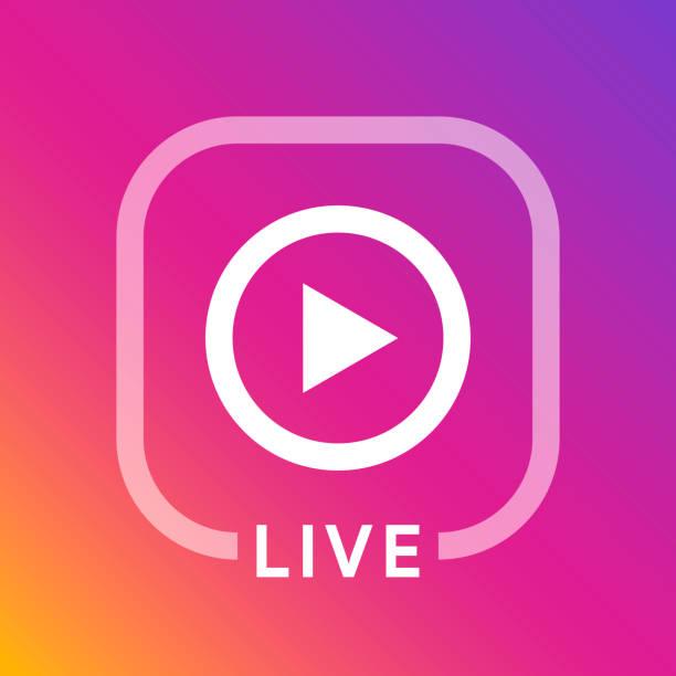 live icon for social media. streaming sign. broadcasting logo. play button. online blog banner. vector illustration design - instagram stock illustrations