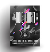 Live indie music night party or concert or rock music festival poster or flyer design template with electric guitar and black and white and some colored liquid shapes. Trendy vector eps 10 illustration.