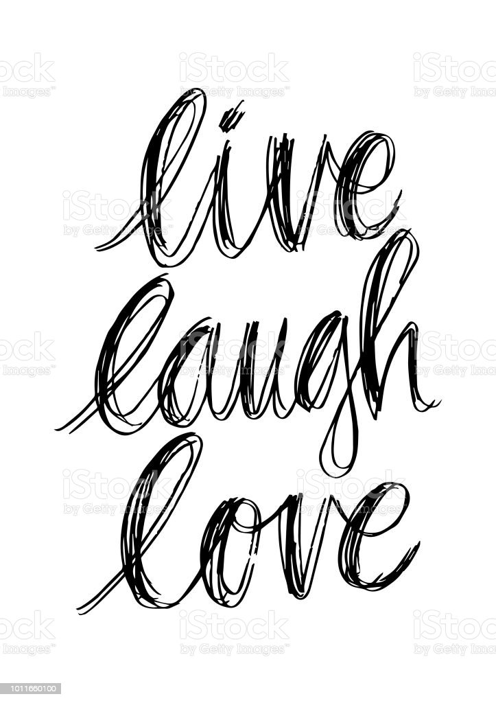 Live Laugh Love Card Hand Drawn Inspirational Quote Stock Illustration -  Download Image Now