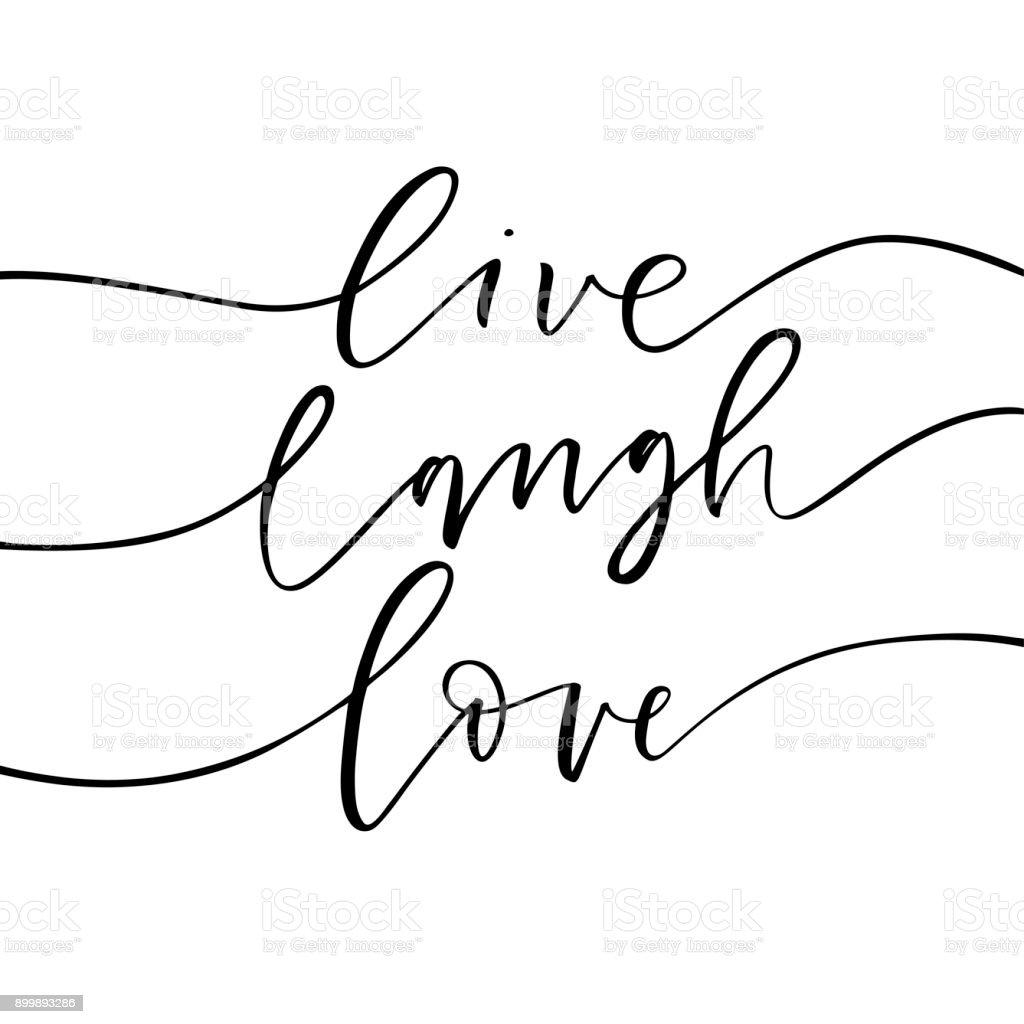 Vivre, rire, aime carte. - Illustration vectorielle