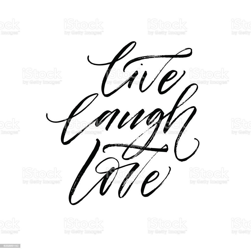 Live, laugh, love postcard. vector art illustration