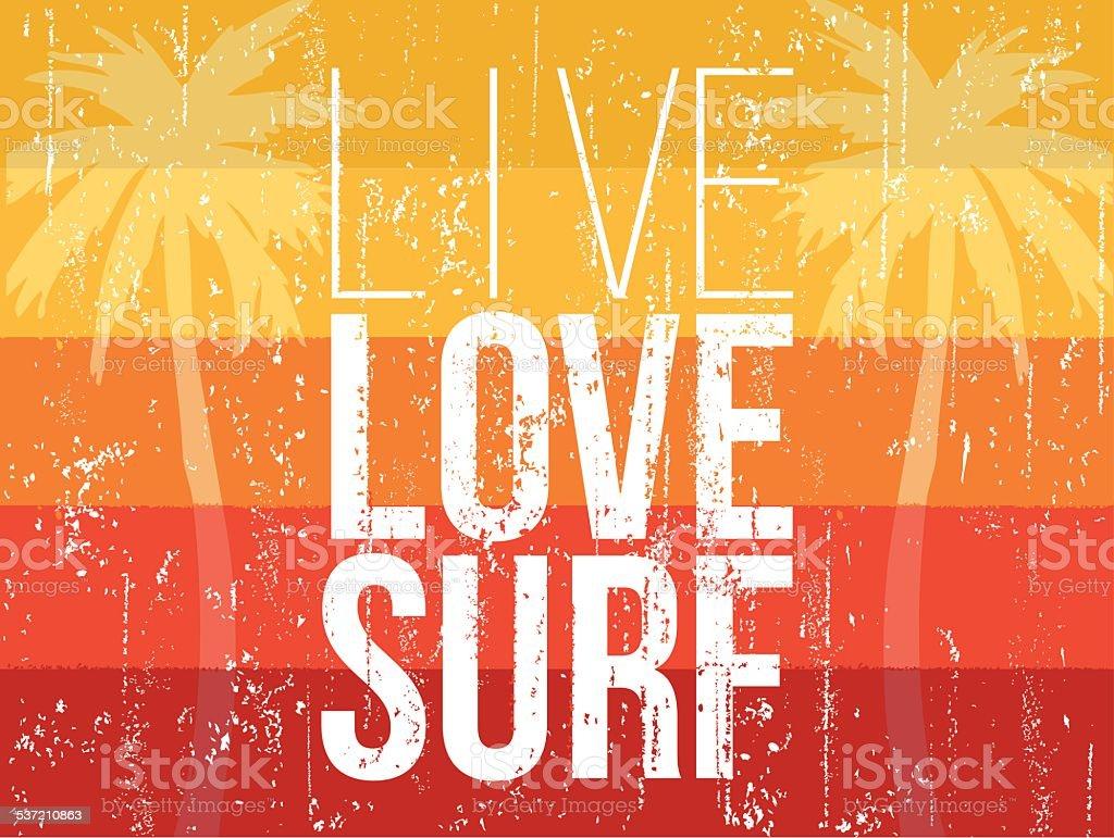 Live love surf banner vector art illustration