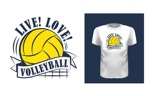 Live, love, volleyball t shirt print design