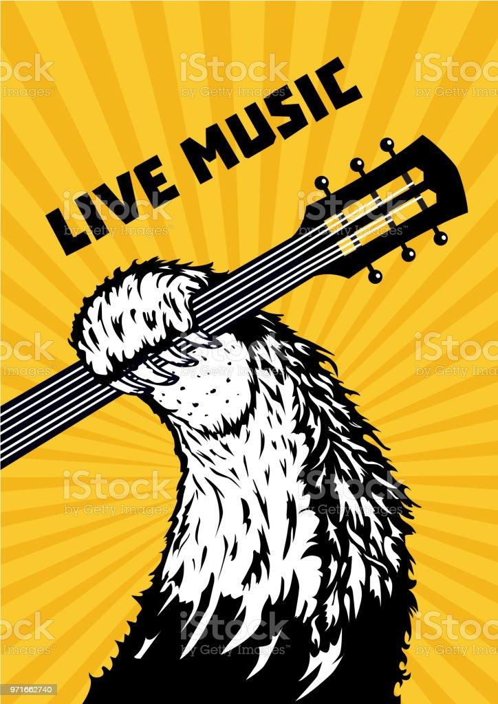 Musique En Direct Animaux Patte Avec La Guitare Fond Musical Affiche