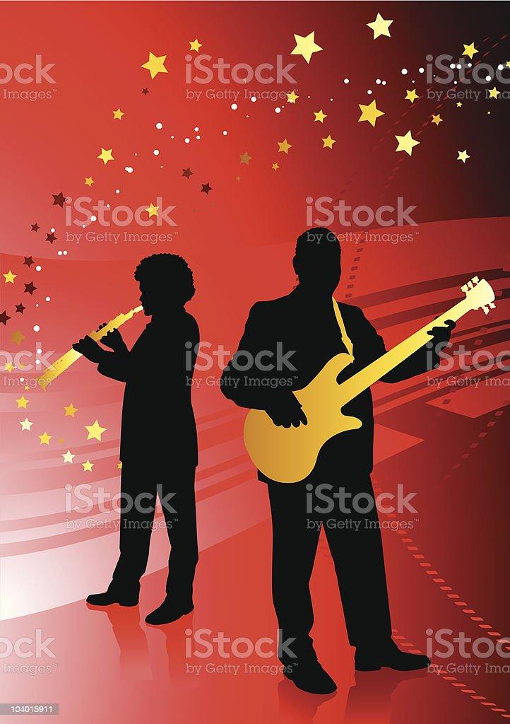 Band Di Musica Dal Vivo Su Astratto Sfondo Rosso Con Stelle
