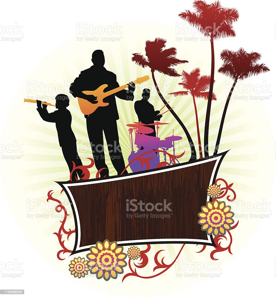 Live Music Band on Abstract Tropical Background royalty-free stock vector art