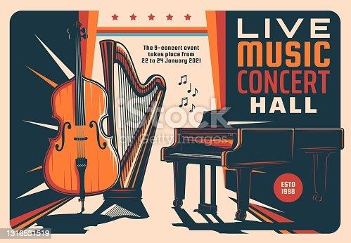 istock Live music concert hall retro vector flyer 1316531519