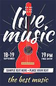Live music. Vector poster, banner, placard for concert, cafe, pub, restaurant, festival, website, public place and etc.
