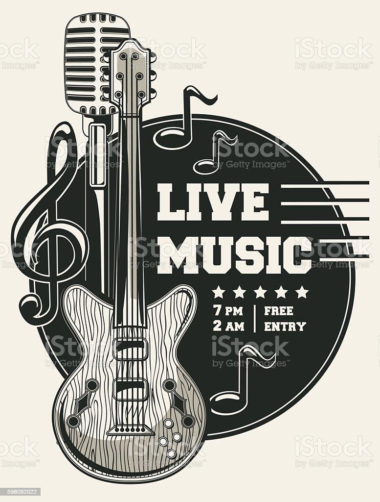 Live music emblem vector art illustration