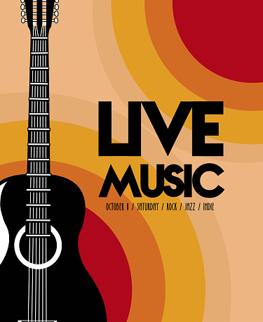 live music festival lettering poster with guitar acoustic