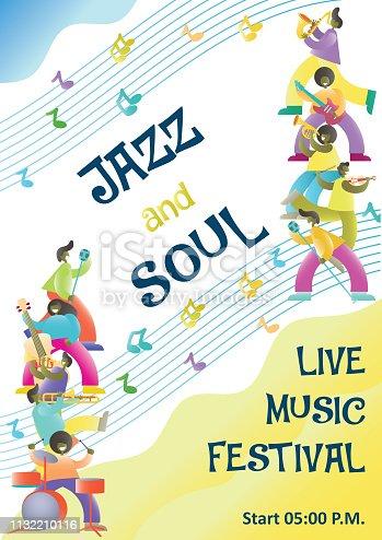 istock Live music festival start announcement vector poster design template 1132210116