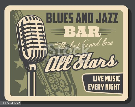 Blues and jazz live music, retro vector. Microphone and saxophone musical instrument. Vintage invitation with mic producing best sounds, brass trumpet, symphonic orchestra show with old sax