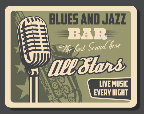 stockillustraties, clipart, cartoons en iconen met live muziek jazz en blues, retro uitnodiging - tenor